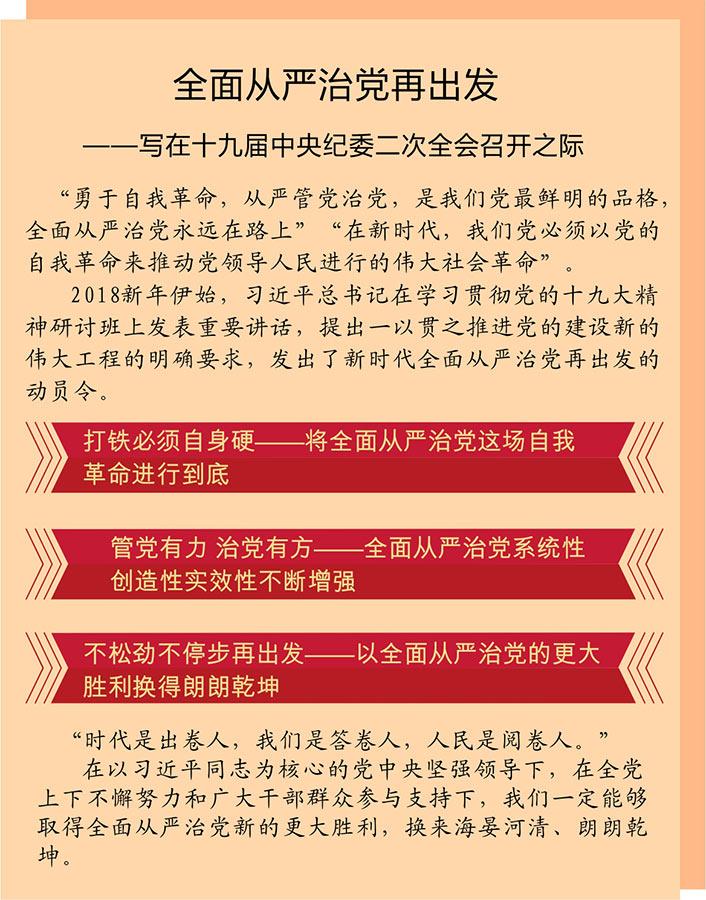 全面从严治党再出发――写在十九届中央纪委二次全会召开之际